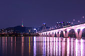 Han river Seoul city with seoul tower at Yeouido in Seoul, South Korea.