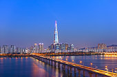 Seoul City Skyline at Han river  with tower in Seoul  South Korea