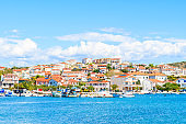 View of colorful houses in Rogoznica town, Dalmatia, Croatia