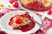 Plum crumble and fresh plums