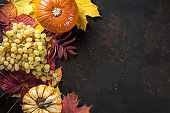 Autumn decoration with pumpkins and grapes on colorful leaves on dark background. Top view with free space for your text