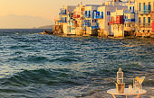 View of the famous pictorial Little Venice bay of Mykonos town in Mykonos island in Greece.