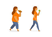 healthy and unhealthy eating concept vector illustration