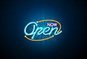 now open neon sign light glow