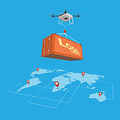 Drone logistics network Flat 3d isometric vector illustration Set container shipping On-time delivery
