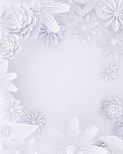 Round white floral wallpaper