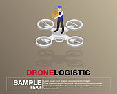 Drone logistics network Flat 3d isometric vector illustration Set shipping On-time delivery