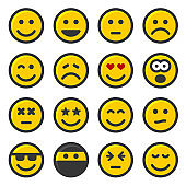 Yellow Smile Icons Set on White Background. Vector