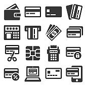 Credit Card Icons Set on White Background. Vector