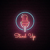 Glowing microphone illustration . Neon sign. Signboard for Stand Up show. Vector illustration.