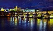 Prague Czech Republic view to Charles Bridge