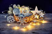Christmas decoration in wicker basket
