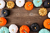 Autumn frame of various colorful pumpkins on rustic wood