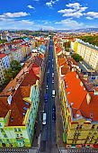Prague, Czech Republic Top view at avenue