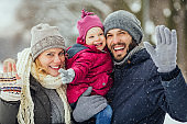Beautiful snowy day with family