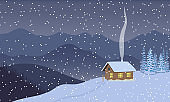 Winter evening twilight or night with illuminated house, distant mountains, skies, snow,