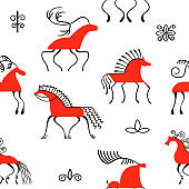 Six red horses seamless pattern. National scandinavian paintings. Folk handicrafts. Enchanting original ornaments. Simplicity.