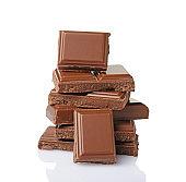 Close-up pieces of milk chocolate ba