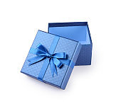 Open empty blue square gift box with shiny satin bow