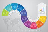 10 steps arrow infographics chart design element. For data presentation. EPS 10.