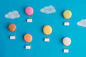 Multicolored hot air balloons food abstract concept.