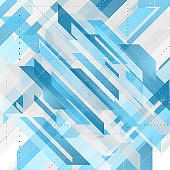 Bright blue abstract tech geometric background