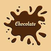Brown chocolate background with splash. Vector illustration