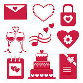 Set of red silhouettes, collection of icons for decorating and design of congratulation for Valentine's Day. Vector illustration.