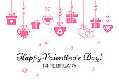 Greeting card for Valentine's Day. Pink hearts and gift boxes hanging. Vector illustration