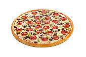Pepperoni Pizza with mushroom isolated on white background