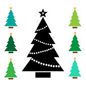 Black Christmas tree icon with star and garland. Colorful set additional versions icons. Vector illustration