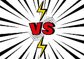 Versus. VS word with lightning on black and white pop art background with sunbeams. Vector illustration.