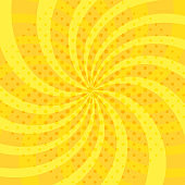 Pop art abstract background with bright yellow sunbeams and halftone dots. Vector illustration