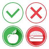 Green and red buttons. Apple and cheeseburger. The choice between unhealthy food and healthy food. Right and wrong. Vector illustration