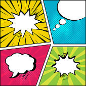 Set of empty speech bubbles on comic bright background in pop art style. Vector illustration