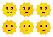Label with face emotions, yellow round stickers isolated on white background. Vector illustration