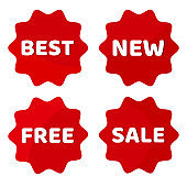 Red set of label with white inscription BEST, NEW, FREE, SALE. Round stickers. Vector illustration