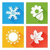 Seasons icon. Set of nature. Blue winter with snowflake, green spring with flower and leaf, yellow summer with sun, orange autumn with maple leaf. Vector illustration