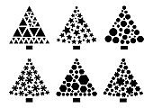 Black set Christmas trees with different ornament. Vector illustration