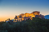 Sunrise over Parthenon, Acropolis of Athens, Greece