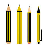 Black and yellow set of pencil, marker and pen. Vector illustration