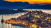 Poros at night, Greece