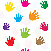 Seamless pattern with hands, palms, colorful silhouette. Vector illustration