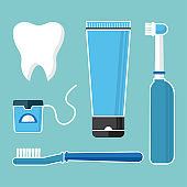 Oral care and hygiene, brushing teeth. Set of dental cleaning tools. Tooth, toothbrush, electric toothbrush, toothpaste and dental floss. Vector illustration