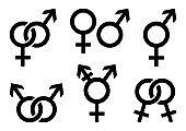 Set of gender icons. Vector illustration