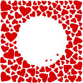 Decorative square frame with red hearts. Place for your text for Valentine's Day. Vector illustration