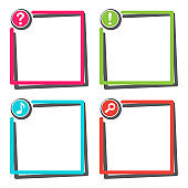 Set of colorful frame with sign buttons. Vector illustration