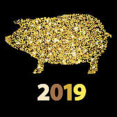 Christmas greeting card with golden pig and date New year