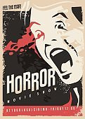 Horror movie show retro cinema poster design