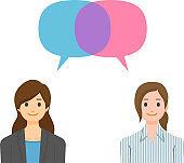 Women with speech bubbles